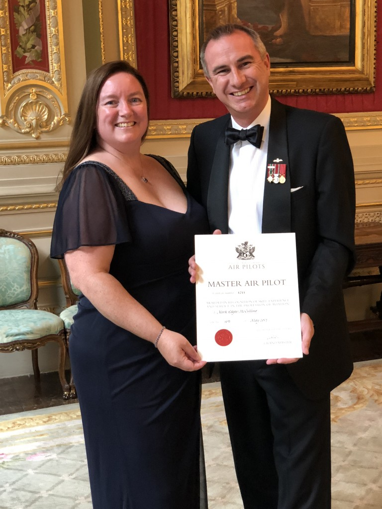Mark McCullins received the award at the Honorable Company of Air Pilots Livery Dinner in London on May 24. He is seen here with his wife, Kathy.