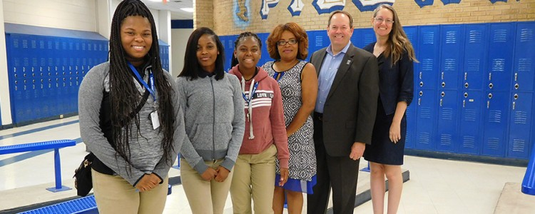 Palmer Pillans Elementary students Al'Landria Jackson, Nicole Goodwin, Alexis Vander; Pillans Principal Jacinda Hollins; Airbus Engineering Site Director David Trent; United Way of Southwest Alabama's Laurie Childers.