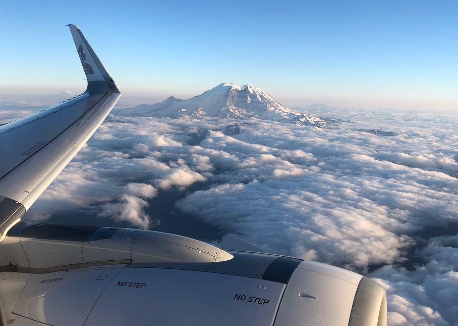 Hawaiian Air Over Mt Rainier