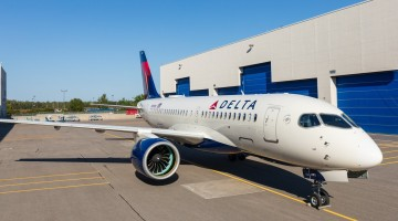 First-Delta-A220-rolls-out-of-paintshop-in-Mirabel
