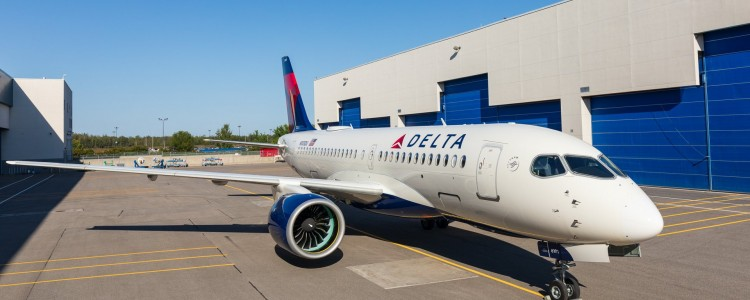 The First Airbus A220-100 Painted in Delta Colors